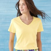 Ladies' Heavy Cotton V-Neck T-Shirt with Tearaway Label